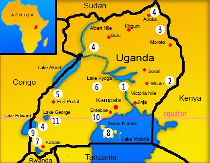 Uganda potovanje, potovanje v Ugando, afrika potovanje, potovanje v Afriko, Uganda vodič, Uganda zemljevid