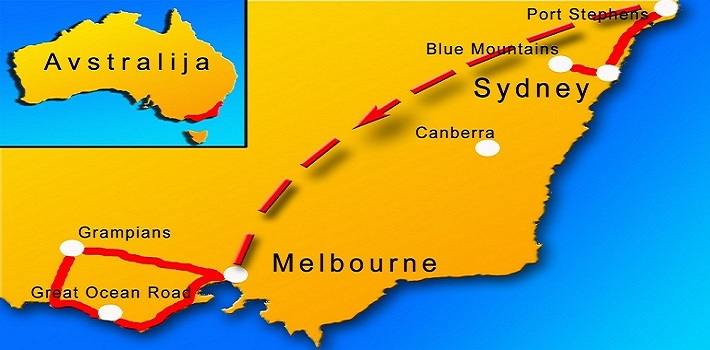 Avstralija potovanje, potovanje v Avstralijo, Avstralija potovanje načrt poti
